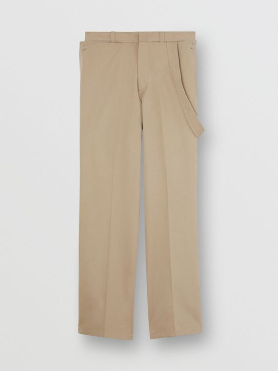 Strap Detail Cotton Trousers in Desert