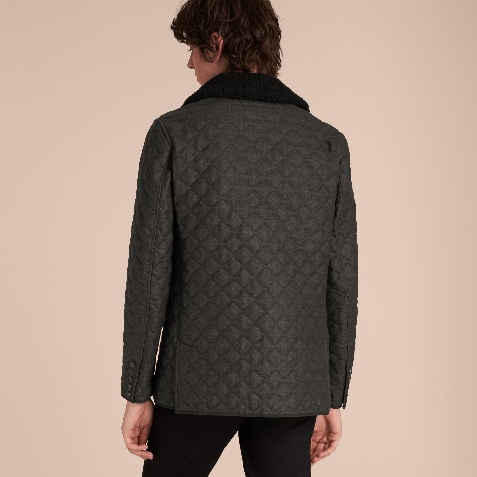 Dark grey melange Quilted Wool Flannel Jacket with Detachable Shearling Collar - gallery image 3