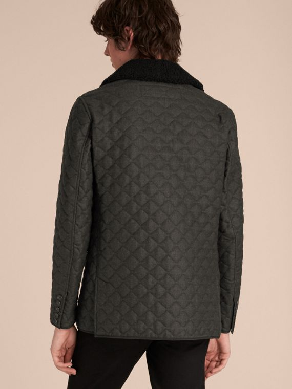 Dark grey melange Quilted Wool Flannel Jacket with Detachable Shearling Collar - cell image 2