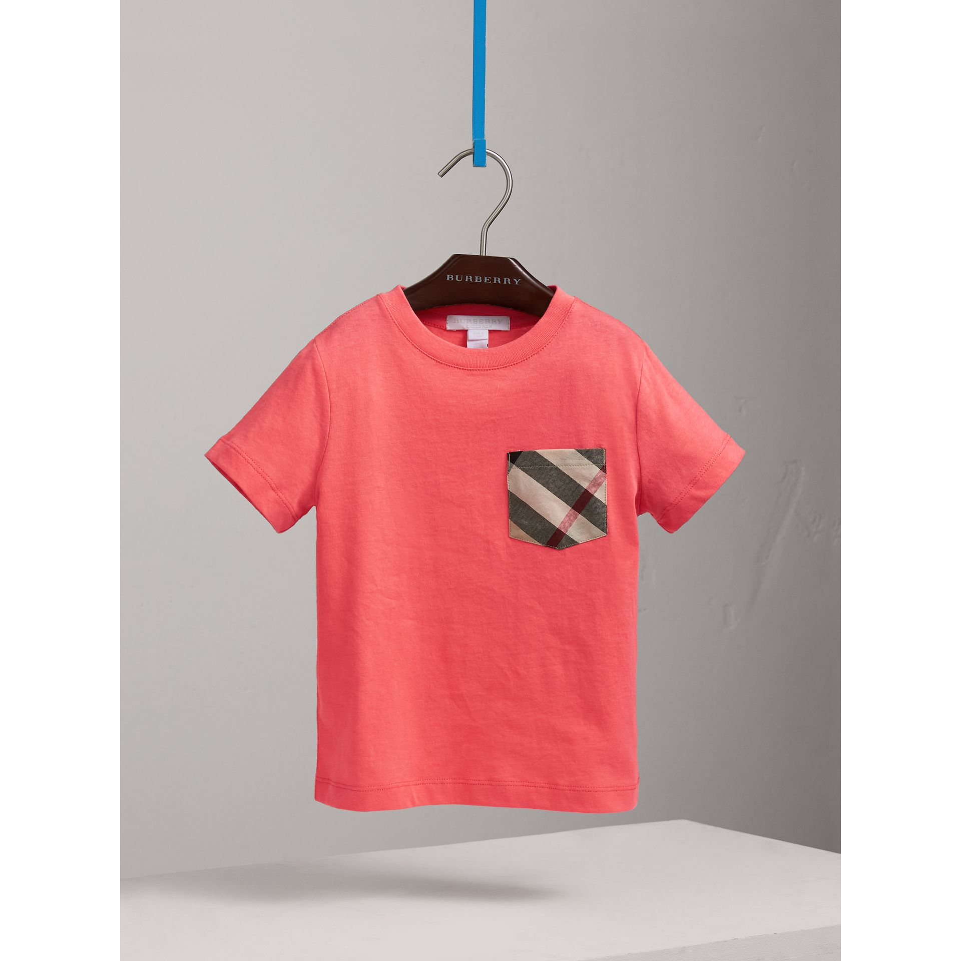 Check Pocket Cotton T-shirt in Bright Coral Pink - Children | Burberry - gallery image 0