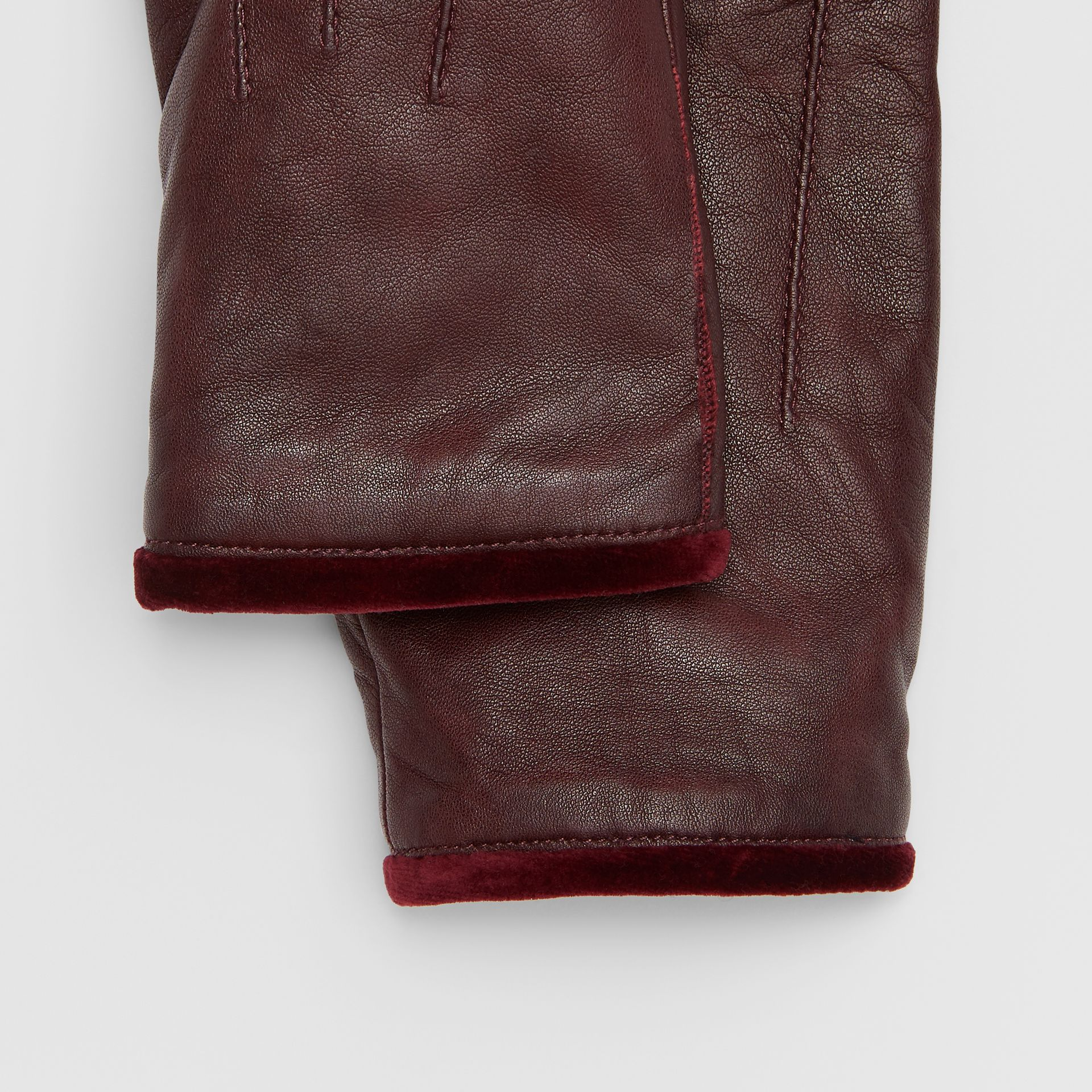 Cashmere-lined Lambskin and Velvet Gloves in Burgundy | Burberry - gallery image 1