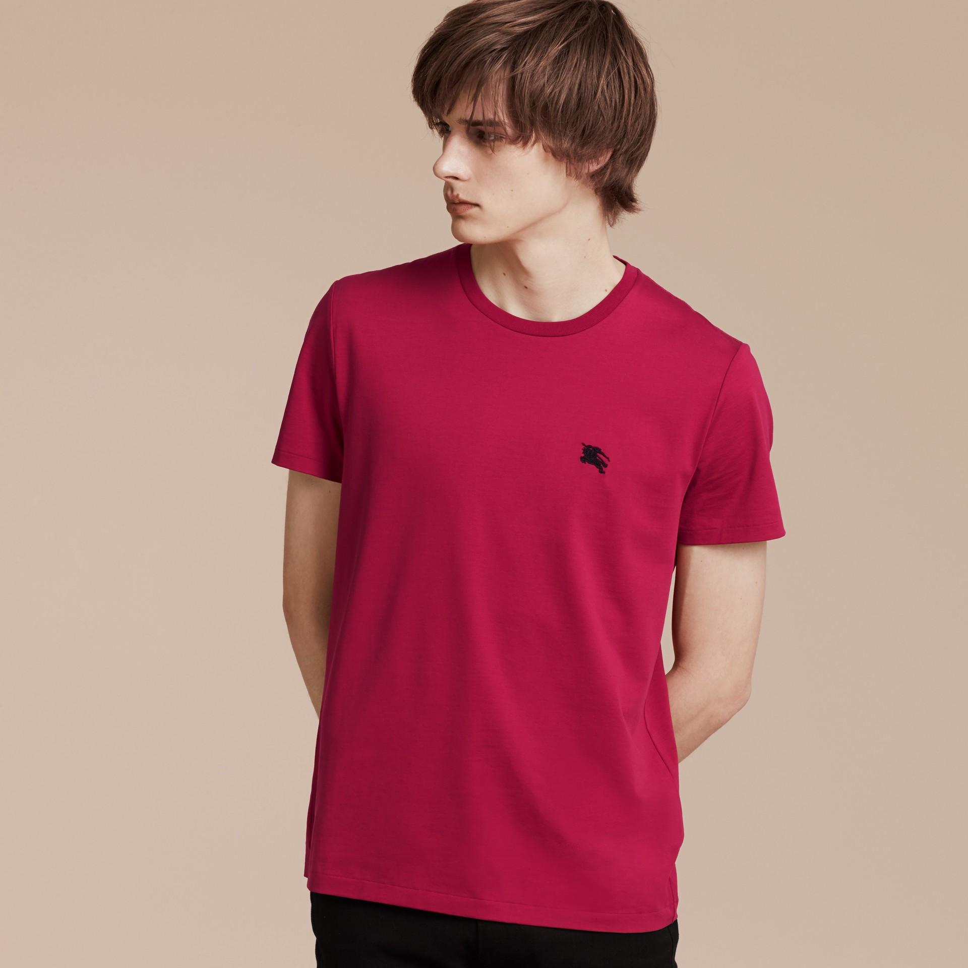 Fucsia acceso T-shirt in cotone morbidissimo Fucsia Acceso - immagine della galleria 6