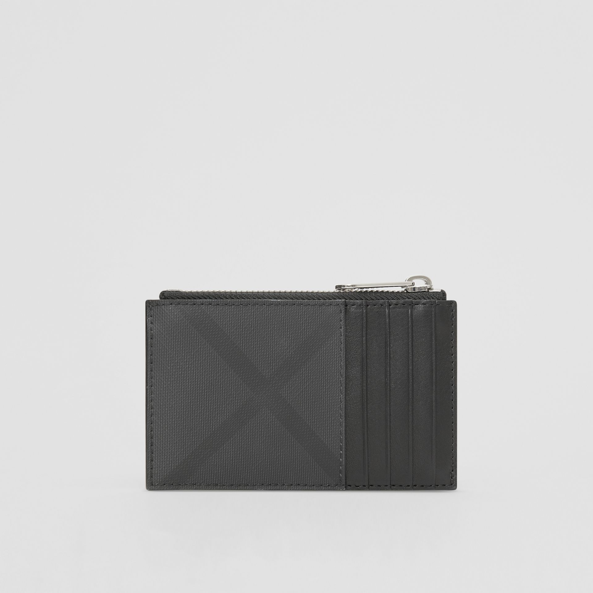 London Check and Leather Zip Card Case in Dark Charcoal - Men | Burberry - gallery image 3