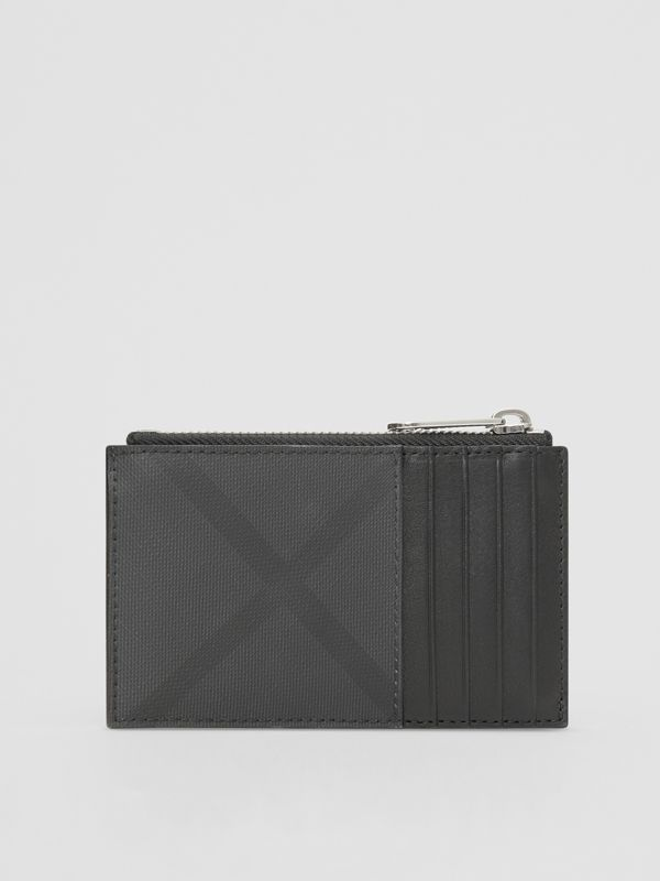 London Check and Leather Zip Card Case in Dark Charcoal - Men | Burberry - cell image 3
