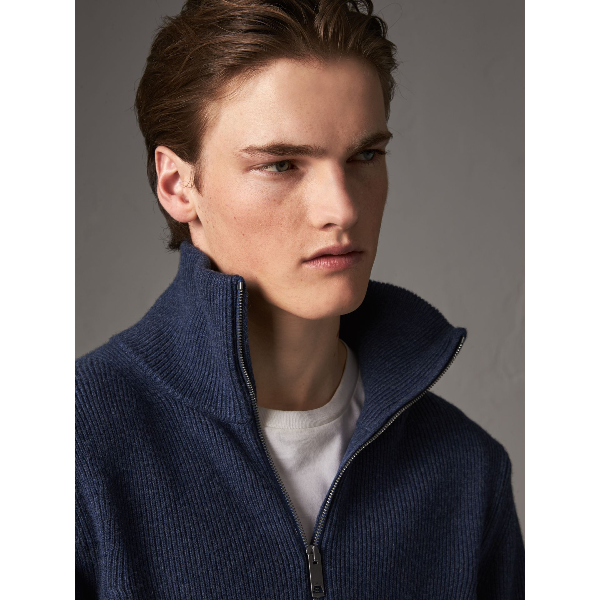 Zip Funnel-neck Wool Cashmere Sweater in Canvas Blue - Men | Burberry United Kingdom - gallery image 4