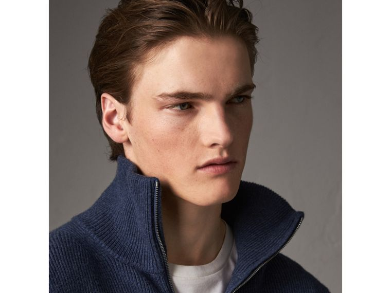 Zip Funnel-neck Wool Cashmere Sweater in Canvas Blue - Men | Burberry United Kingdom - cell image 4