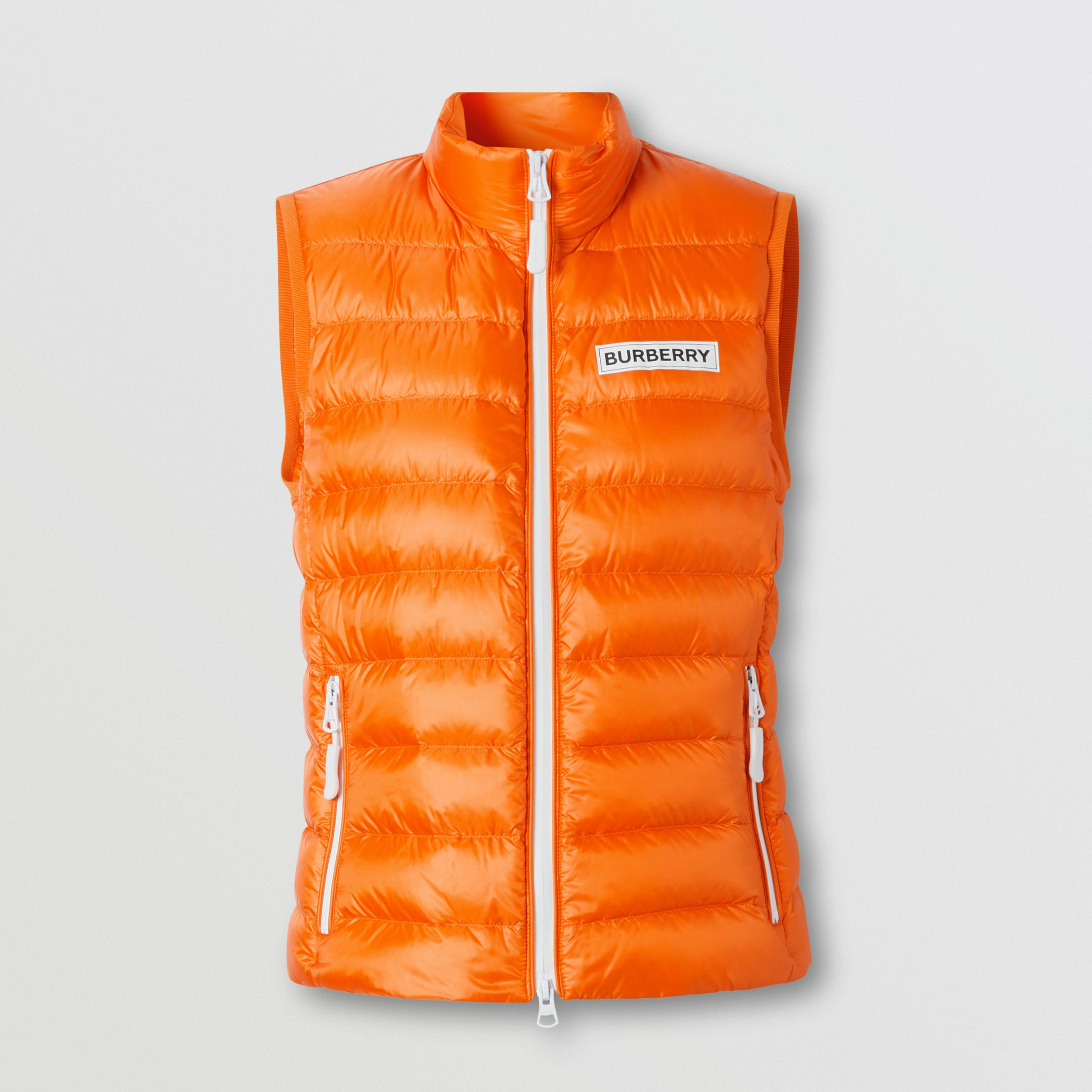 Logo Print Lightweight Puffer Gilet in Bright Orange - Women | Burberry Australia - 4