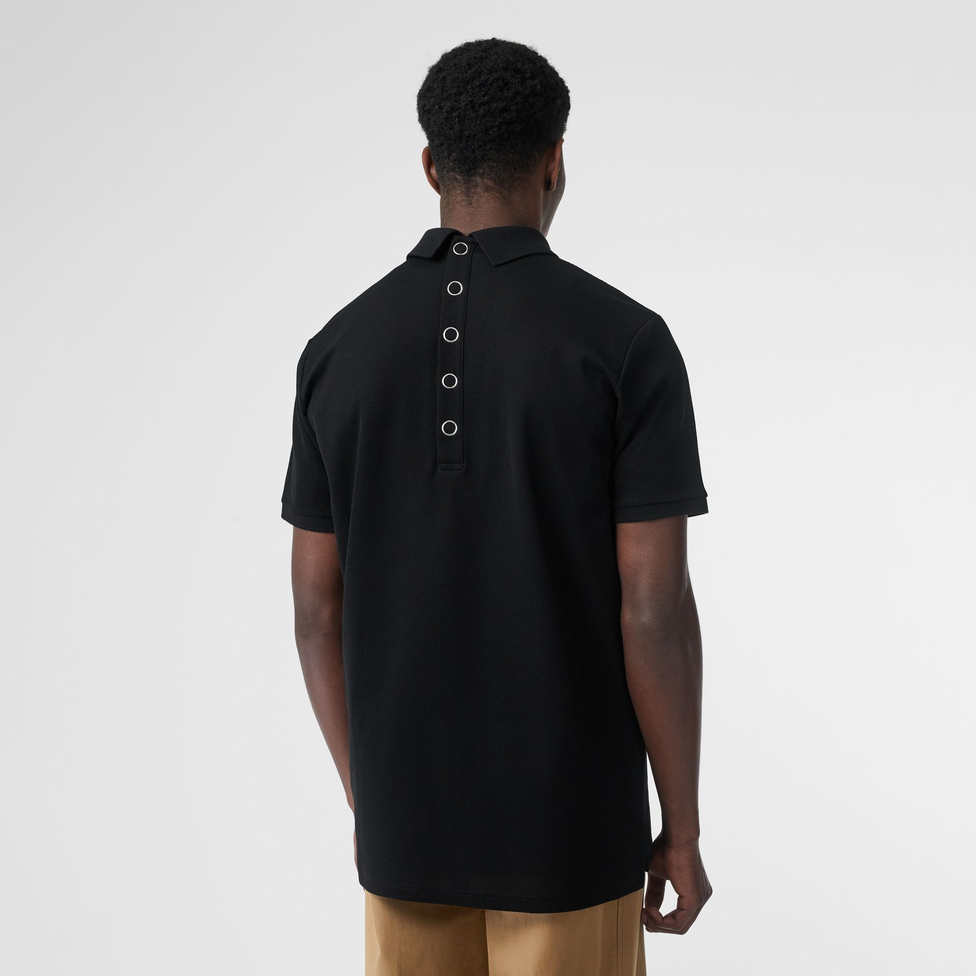 Monogram Motif Cotton Piqué Polo Shirt in Black | Burberry United States - gallery image 2