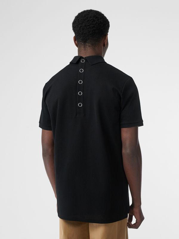 Monogram Motif Cotton Piqué Polo Shirt in Black | Burberry - cell image 2