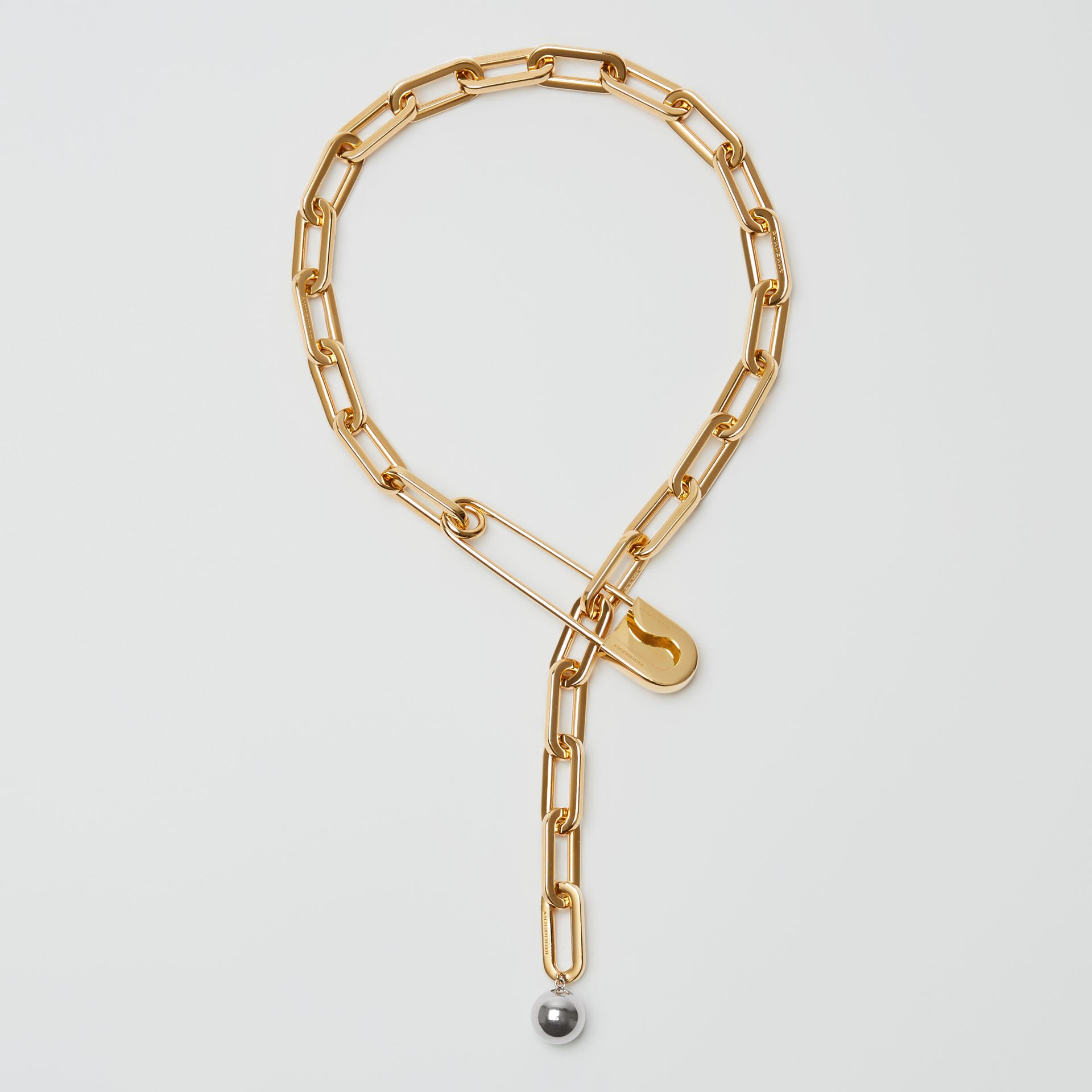 Crystal Daisy Kilt Pin Gold-plated Link Drop Necklace in Light - Women | Burberry - gallery image 0