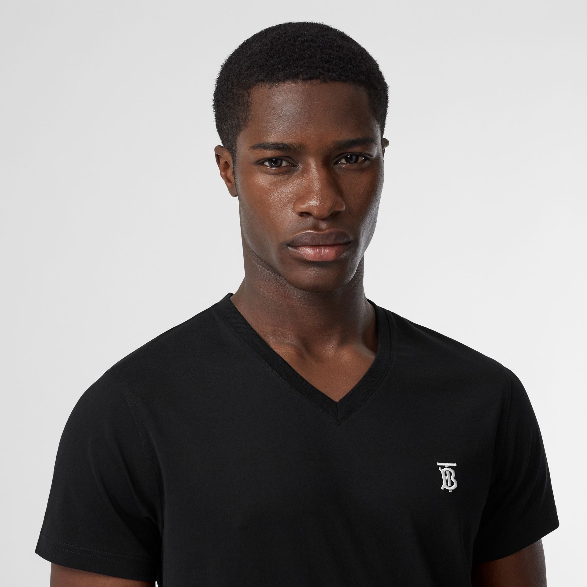 Monogram Motif Cotton V-neck T-shirt in Black - Men | Burberry Hong Kong S.A.R - gallery image 1