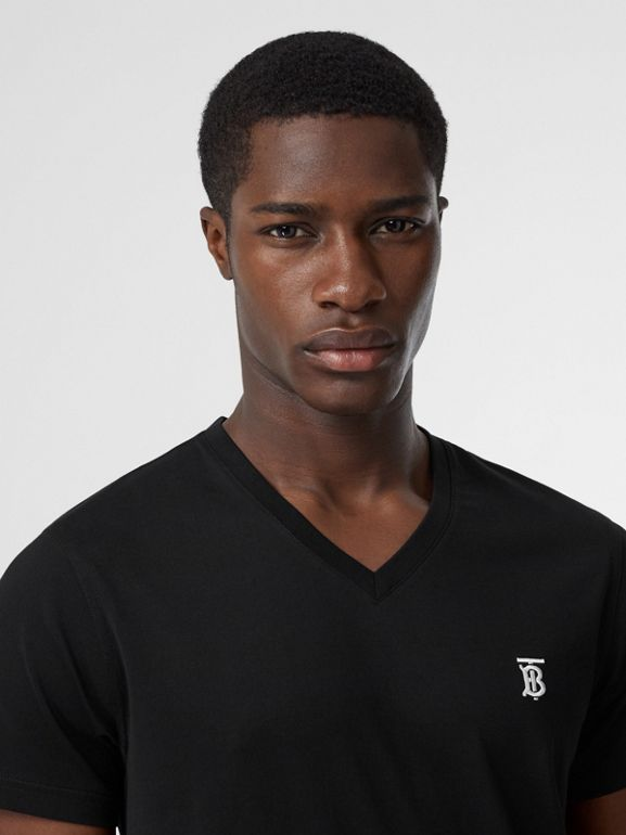 Monogram Motif Cotton V-neck T-shirt in Black - Men | Burberry Australia - cell image 1