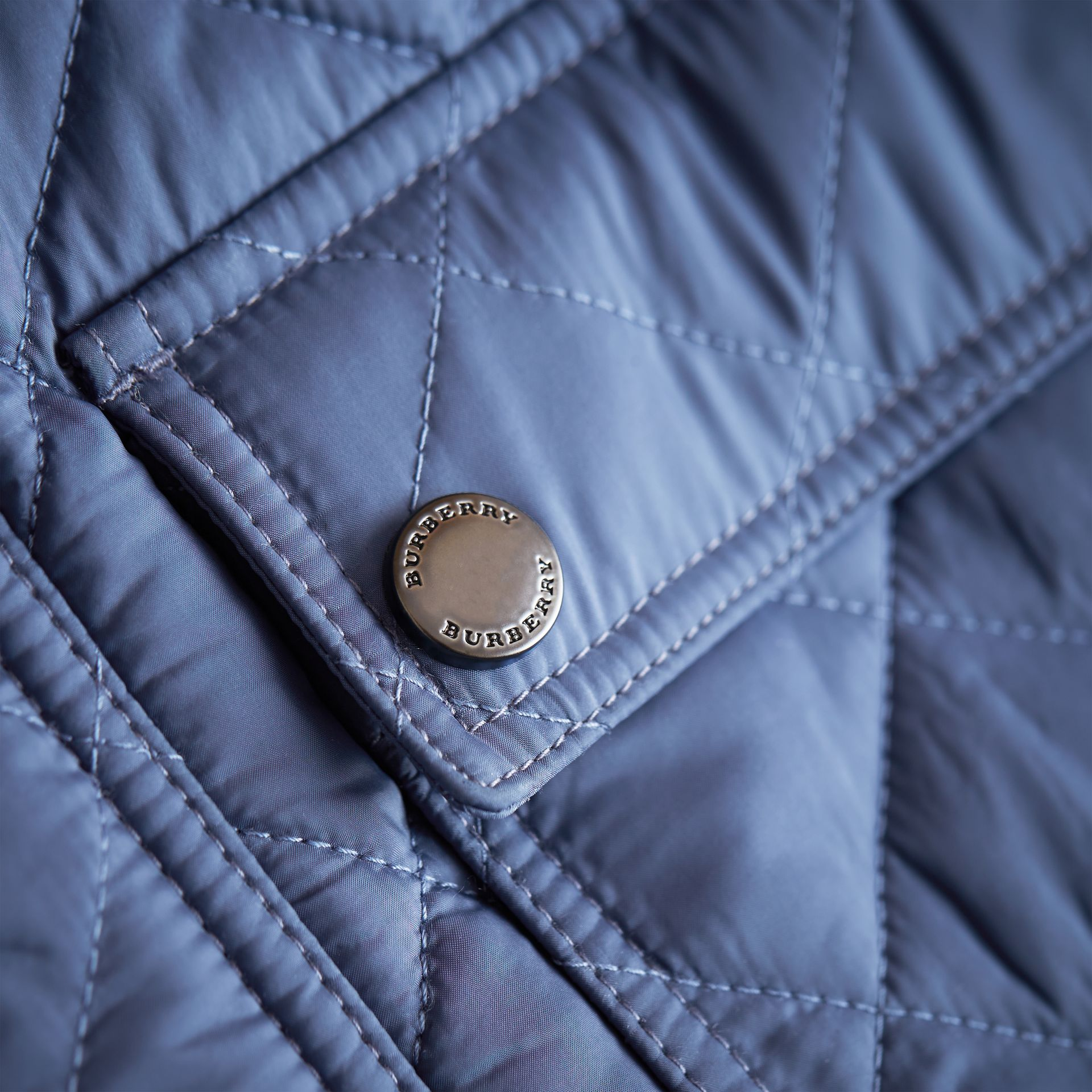 Detachable Hood Lightweight Quilted Jacket in Mineral Blue - Boy | Burberry - gallery image 2
