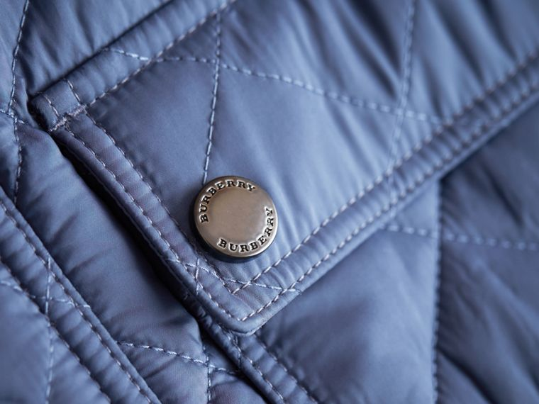Detachable Hood Lightweight Quilted Jacket in Mineral Blue - Boy | Burberry - cell image 1