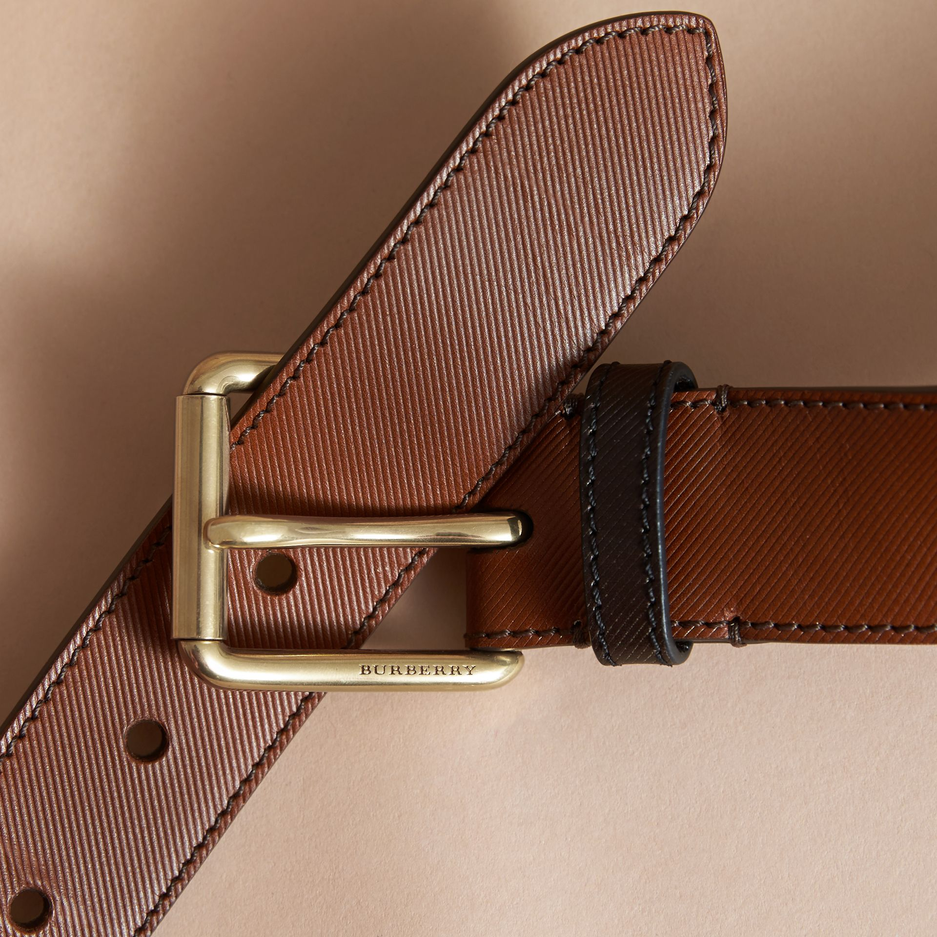 Two-tone Trench Leather Belt in Tan - Men | Burberry - gallery image 2