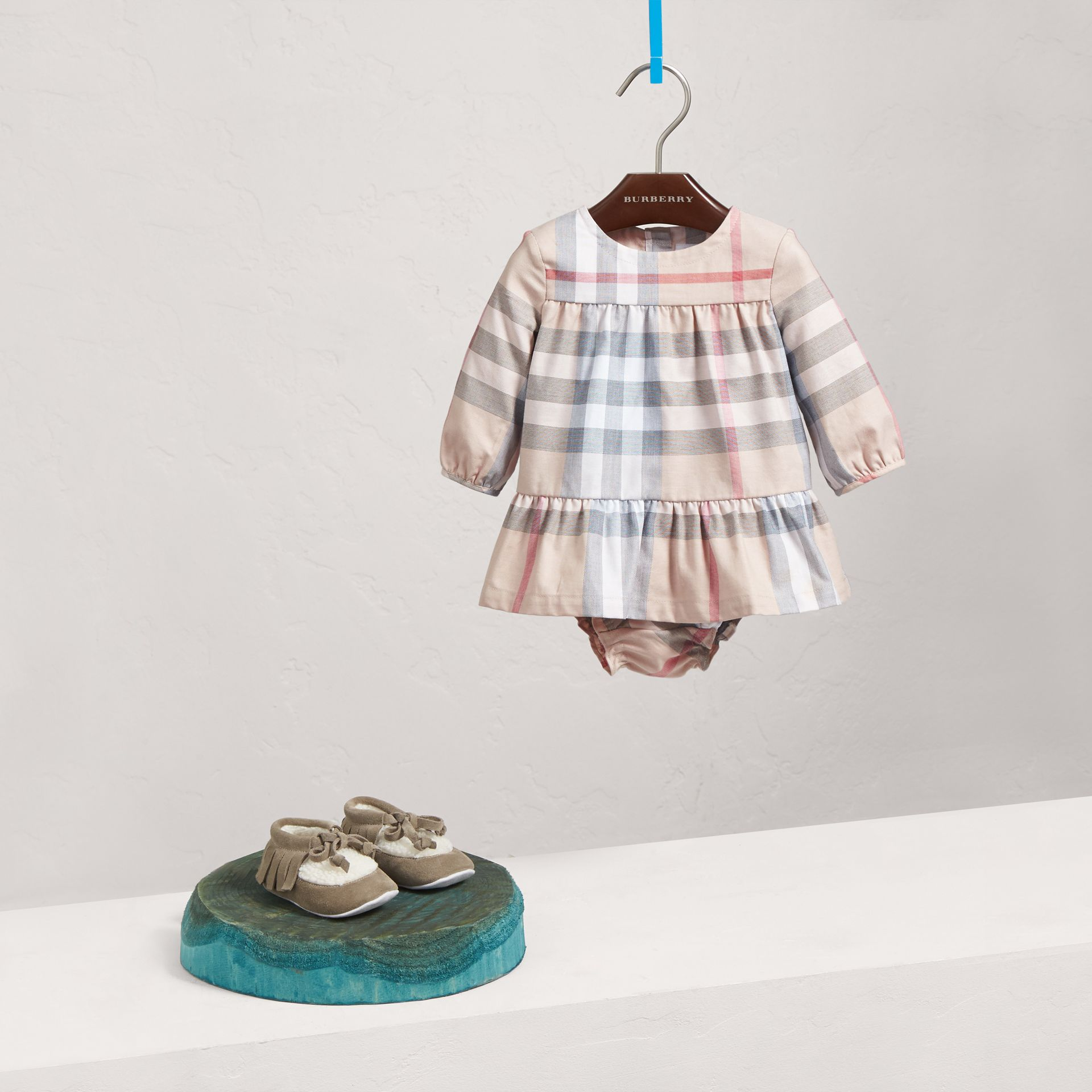 Check Cotton Tiered Dress with Bloomers in Pale Stone | Burberry United Kingdom - gallery image 0