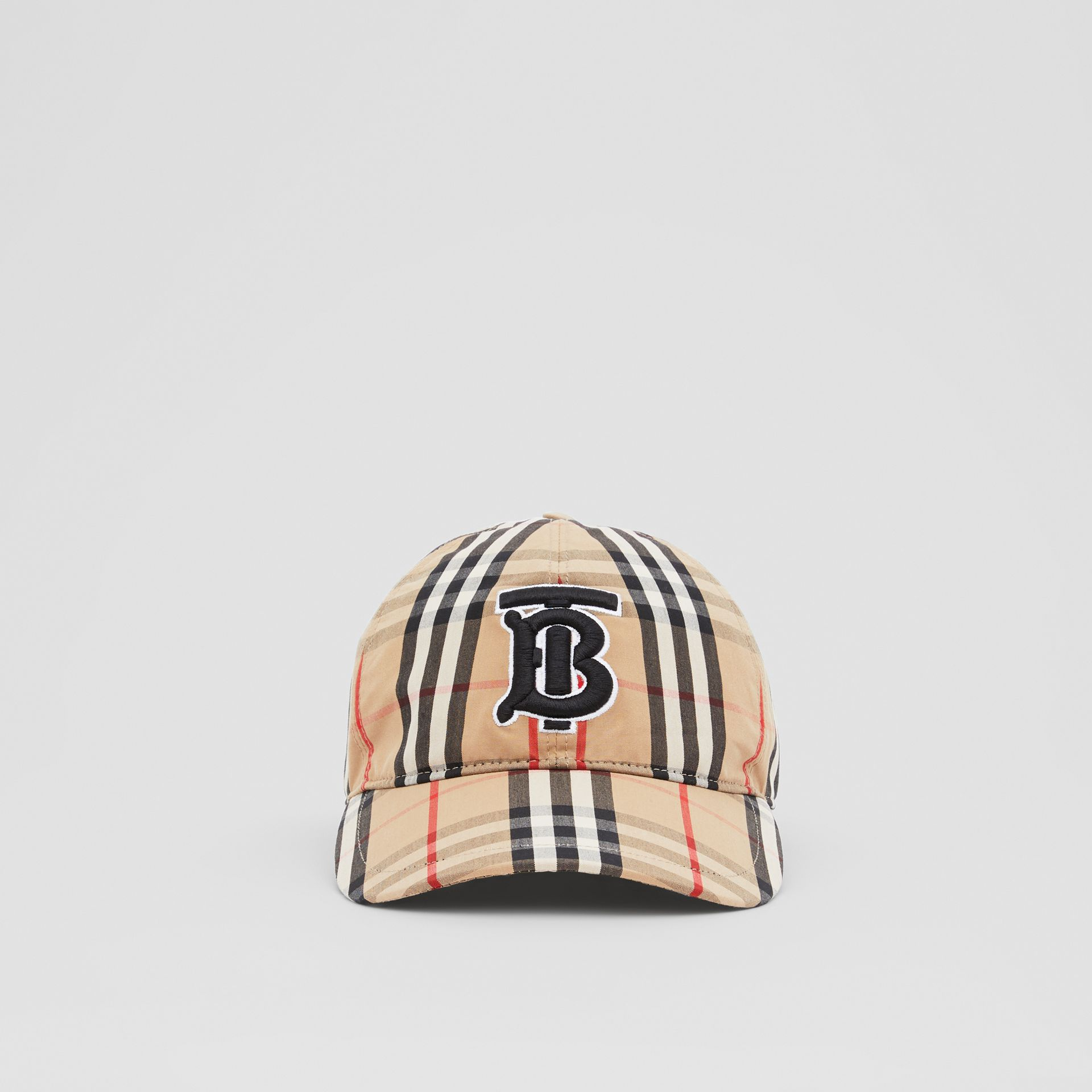 Monogram Motif Vintage Check Cotton Baseball Cap in Archive Beige | Burberry United Kingdom - gallery image 0