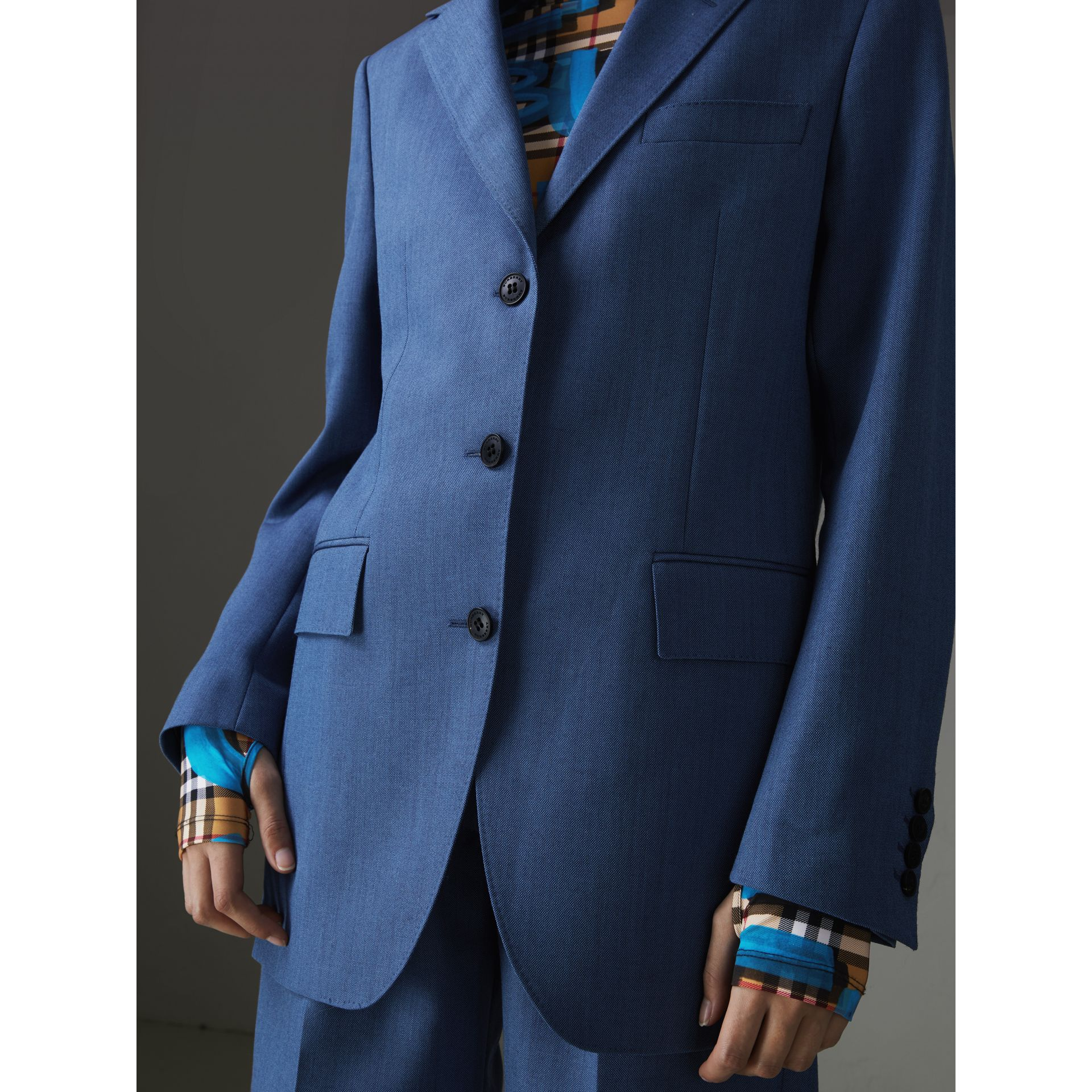 Wool Mohair Tailored Jacket in Bright Navy - Women | Burberry Singapore - gallery image 4