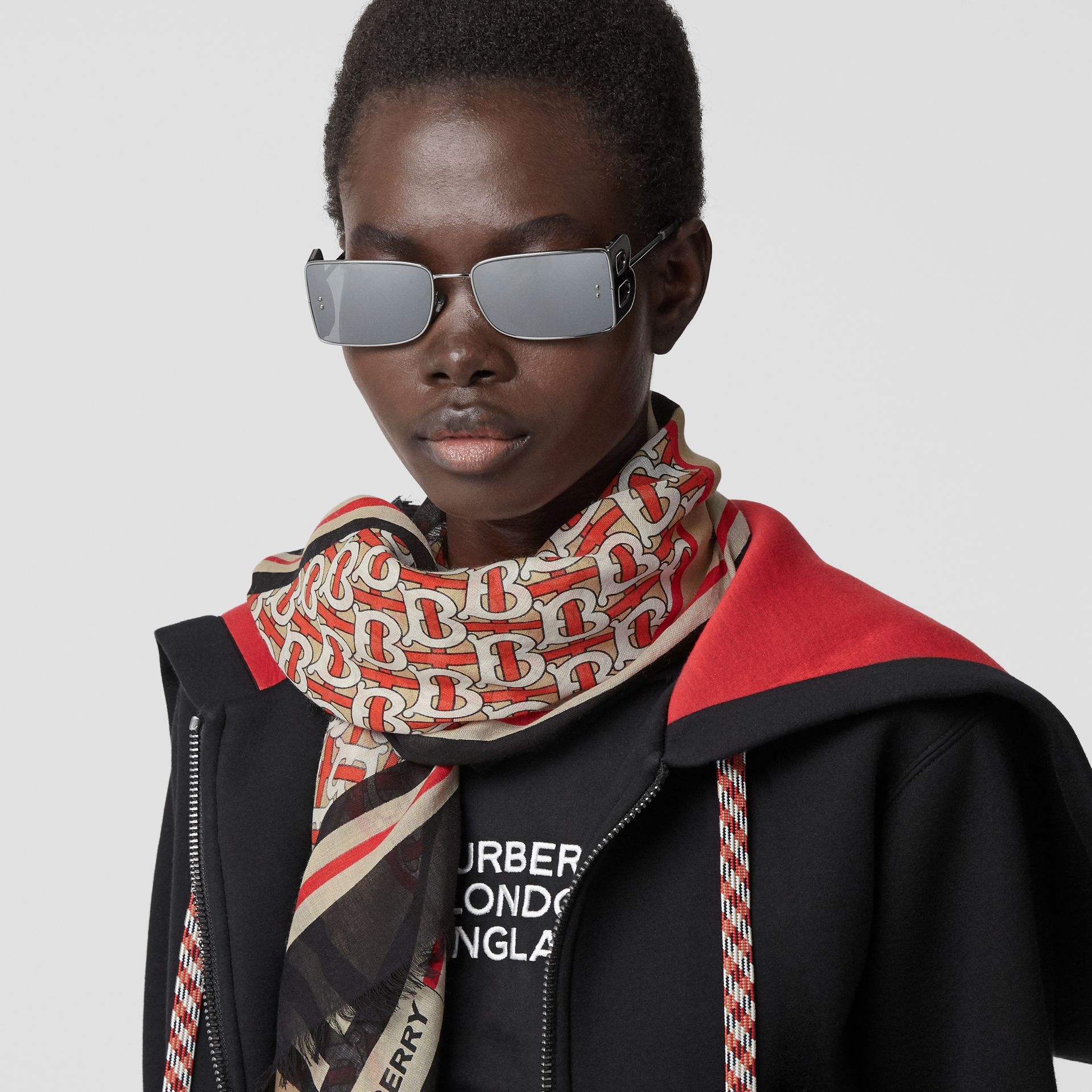 Icon Stripe Monogram Print Wool Silk Square Large Scarf in Vermillion | Burberry - gallery image 2