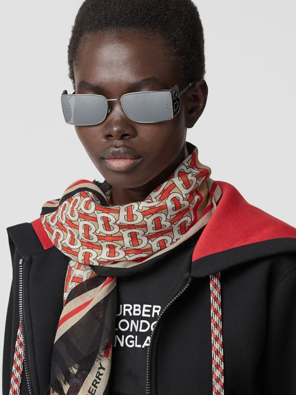 Icon Stripe Monogram Print Wool Silk Square Large Scarf in Vermillion | Burberry - cell image 2
