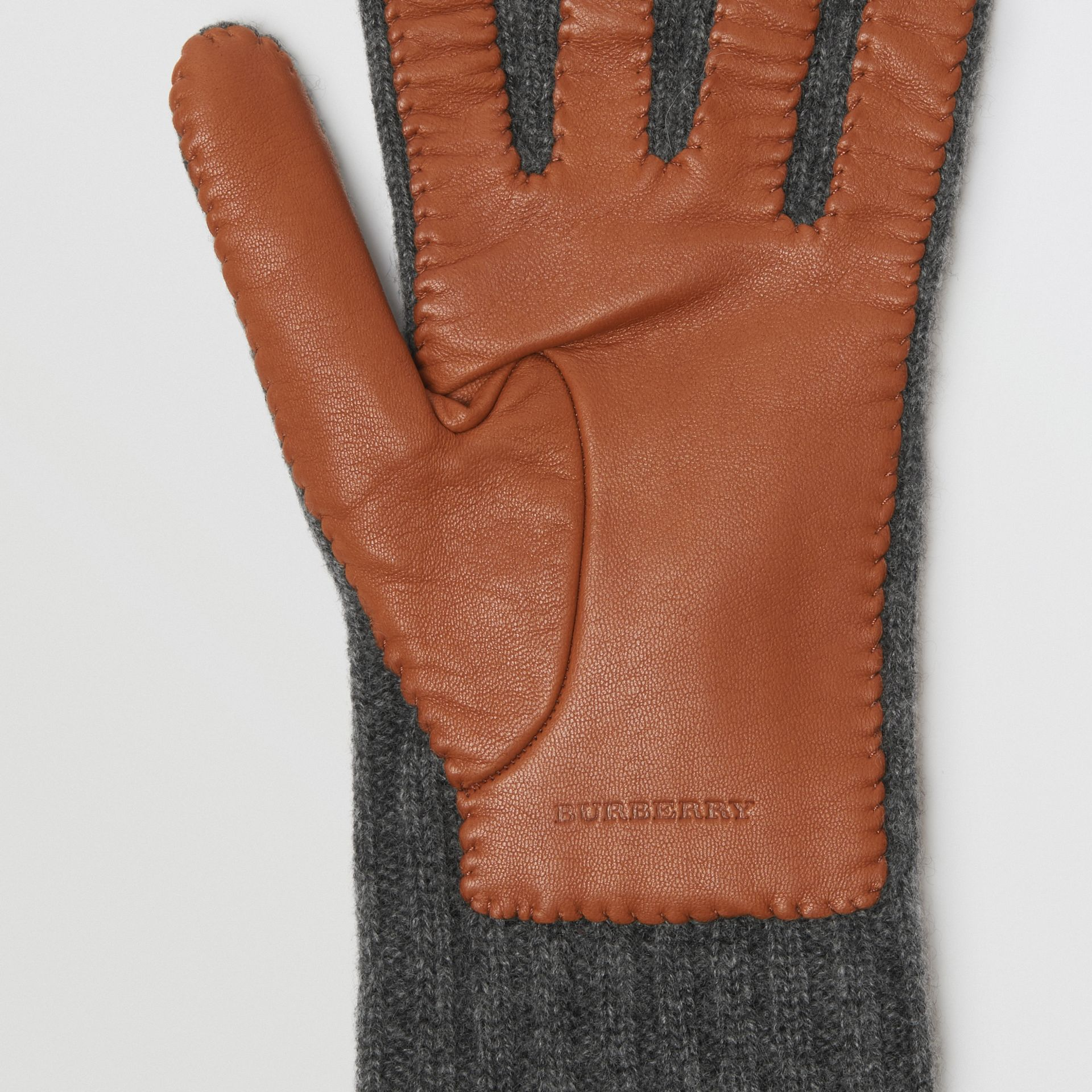 Cashmere and Lambskin Gloves in Tan/charcoal - Women | Burberry United Kingdom - gallery image 1