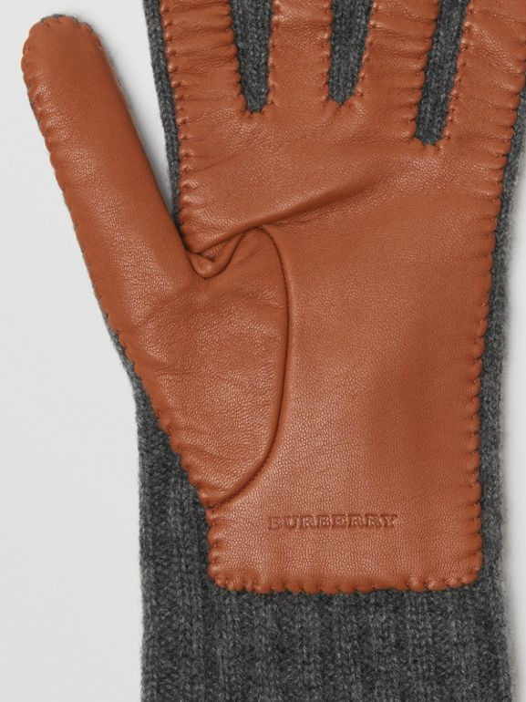 Cashmere and Lambskin Gloves in Tan/charcoal - Women | Burberry United Kingdom - cell image 1