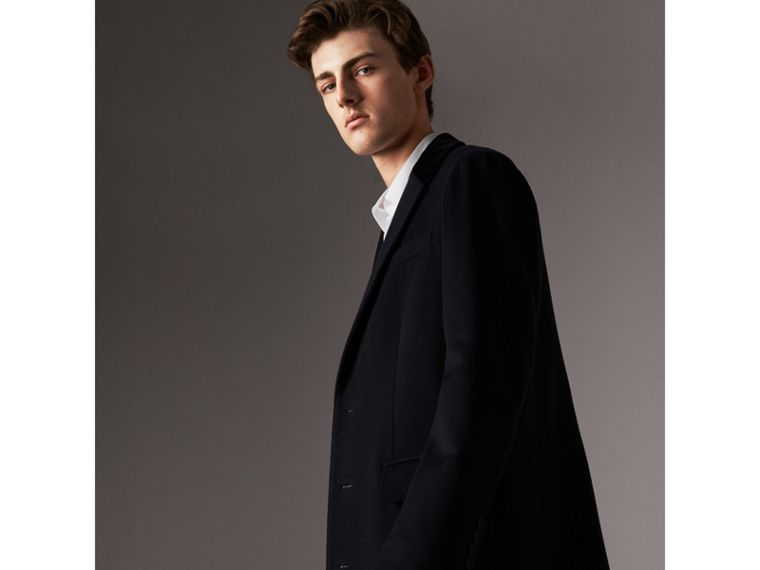 Velvet Collar Wool Cashmere Coat in Navy - Men | Burberry - cell image 4
