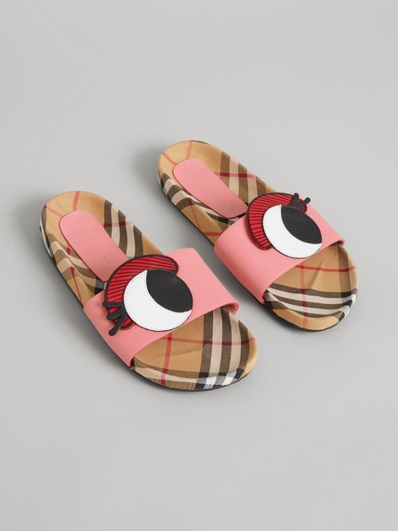 Eye Appliqué Vintage Check and Leather Slides in Pink Azalea