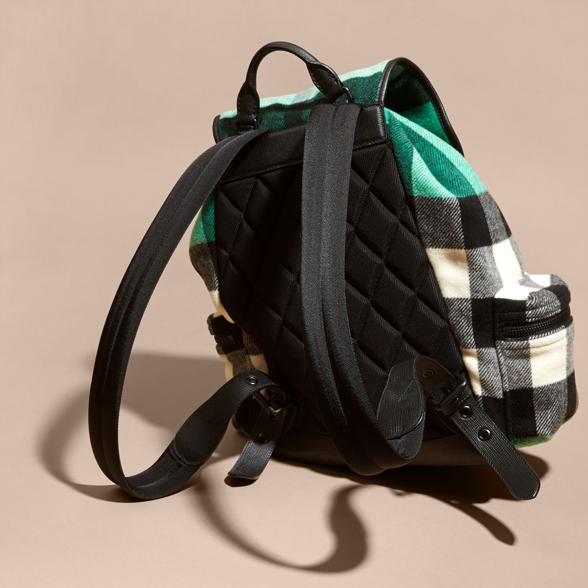 Emerald The Large Rucksack in Check Wool Blend and Leather Emerald - gallery image 5