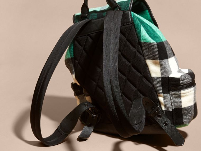 Emerald The Large Rucksack in Check Wool Blend and Leather Emerald - cell image 4
