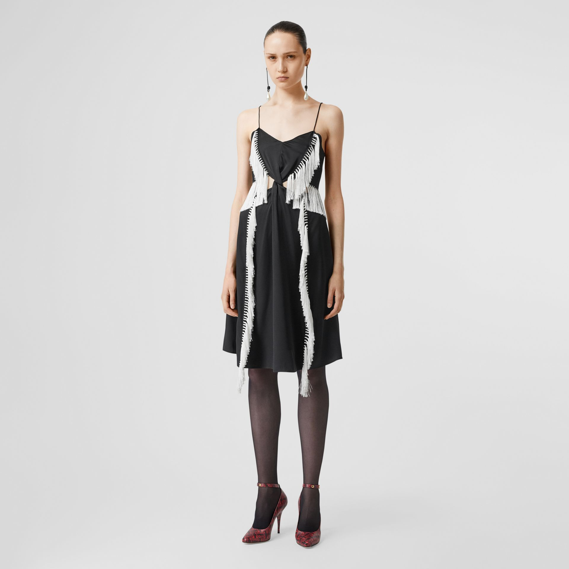 Fringe Detail Silk Satin Slip Dress in Black - Women | Burberry - gallery image 0