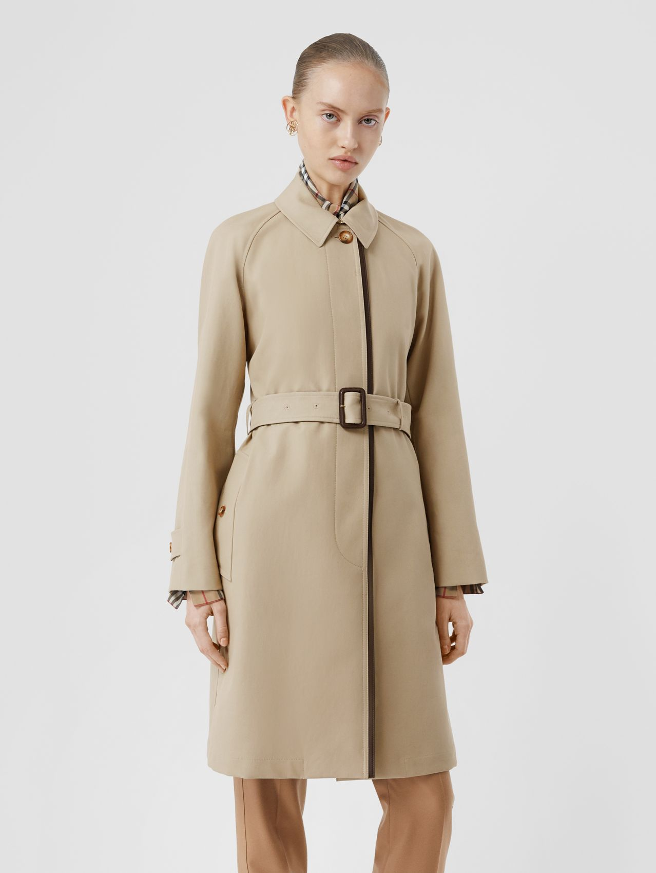 Lambskin Trim Cotton Gabardine Belted Car Coat in Stone