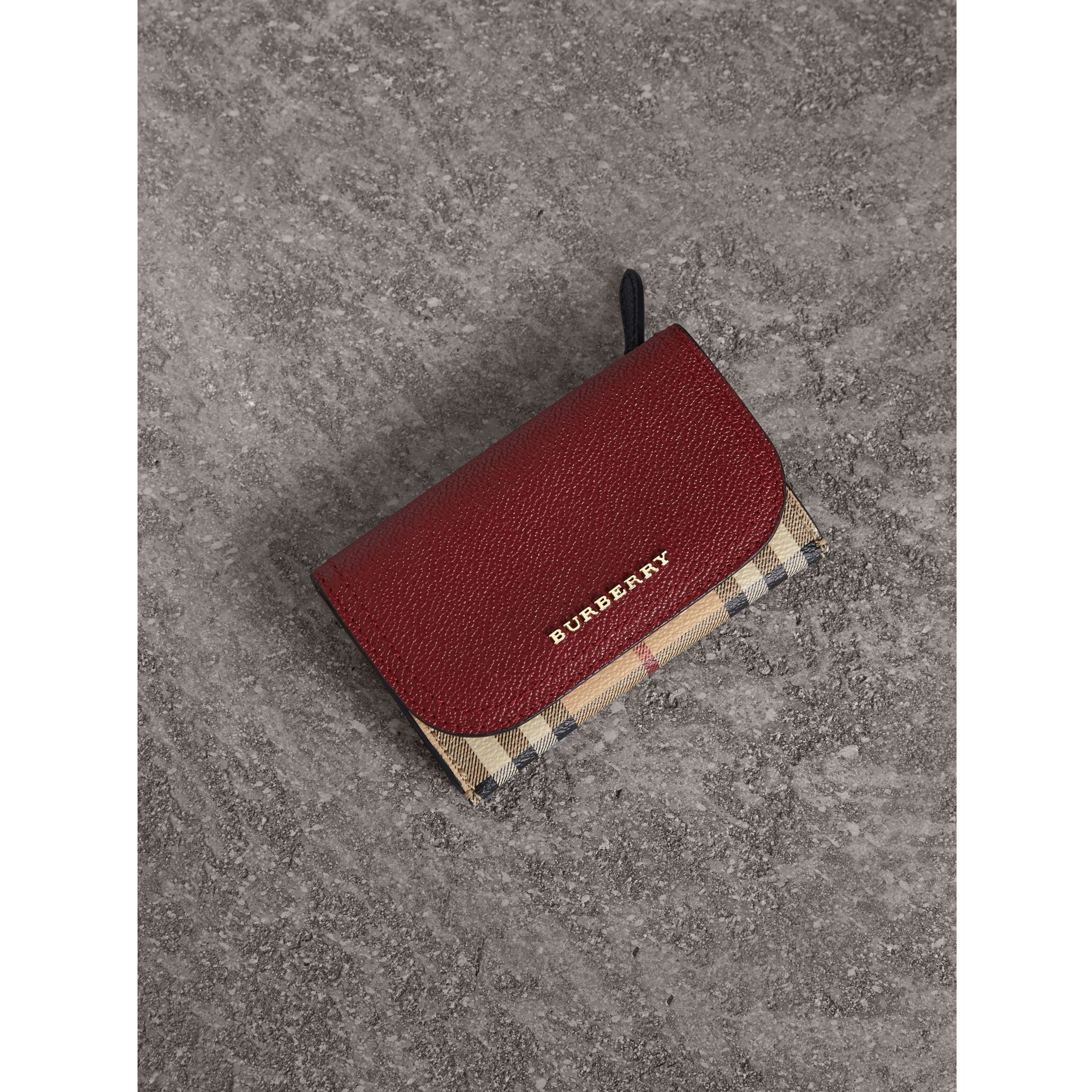 Leather and Haymarket Check Mini Wallet in Burgundy/multicolour | Burberry Australia - gallery image 0