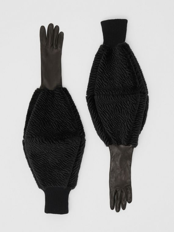 Silk-lined Lambskin, Chenille and Cashmere Gloves in Black