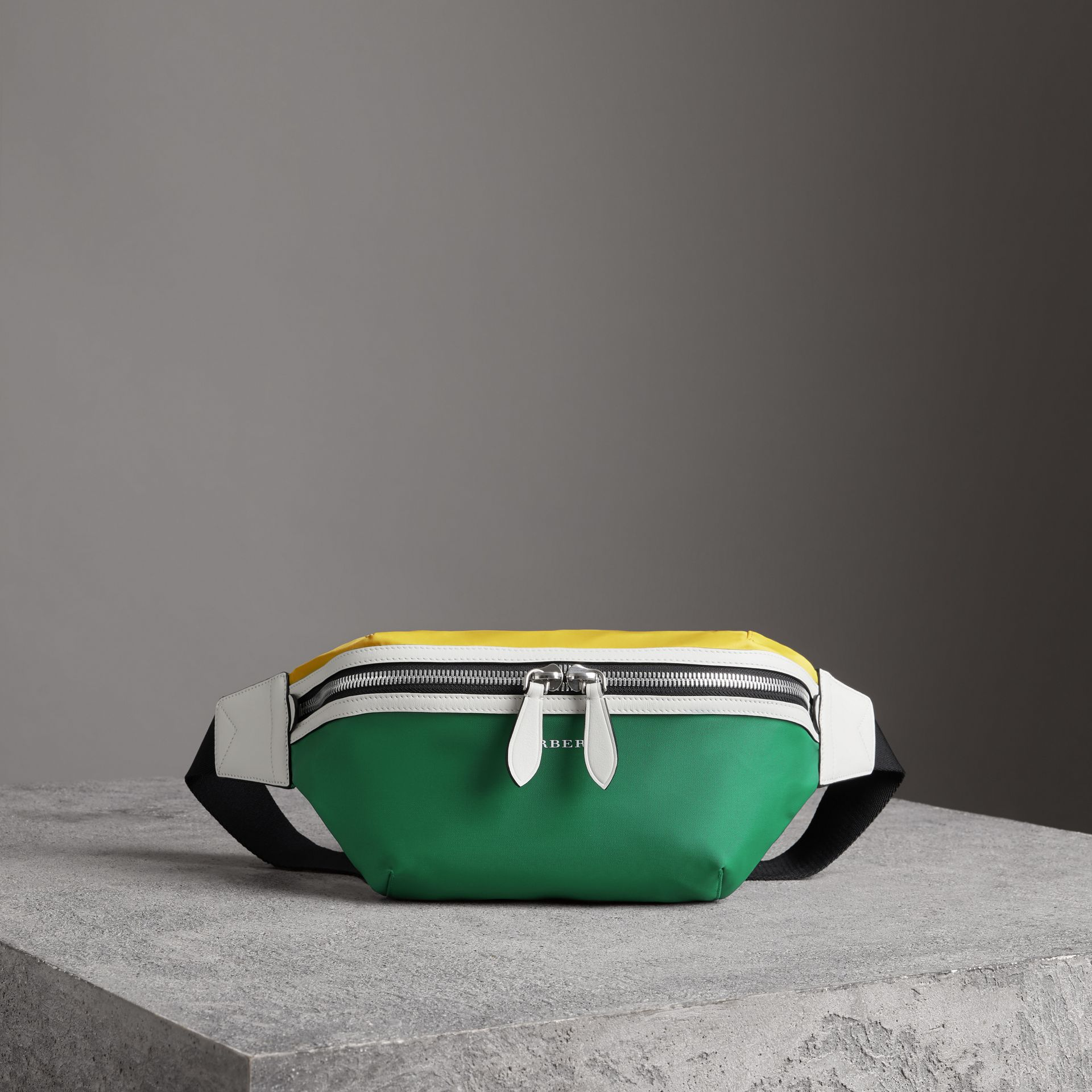 Tri-tone Nylon and Leather Bum Bag in Pine Green | Burberry United Kingdom - gallery image 0