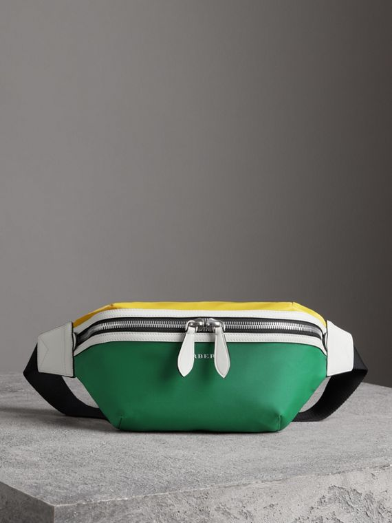 Tri-tone Nylon and Leather Bum Bag in Pine Green