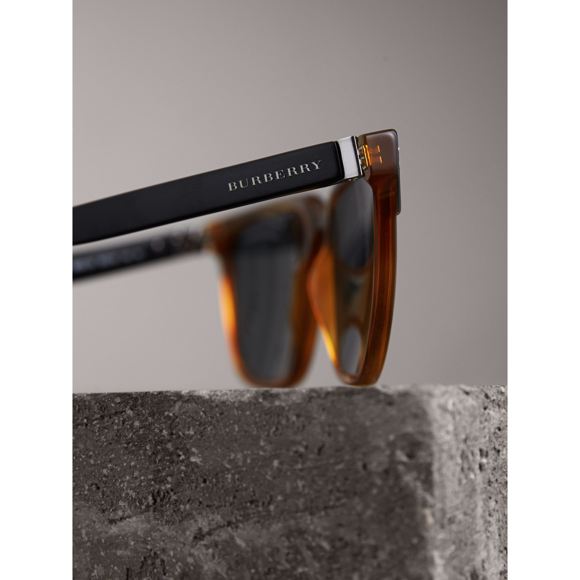 Square Frame Sunglasses in Light Brown - Men | Burberry - gallery image 1