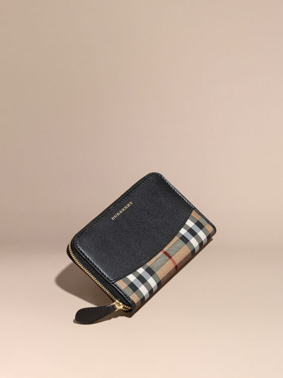 Horseferry Check and Leather Ziparound Wallet Black