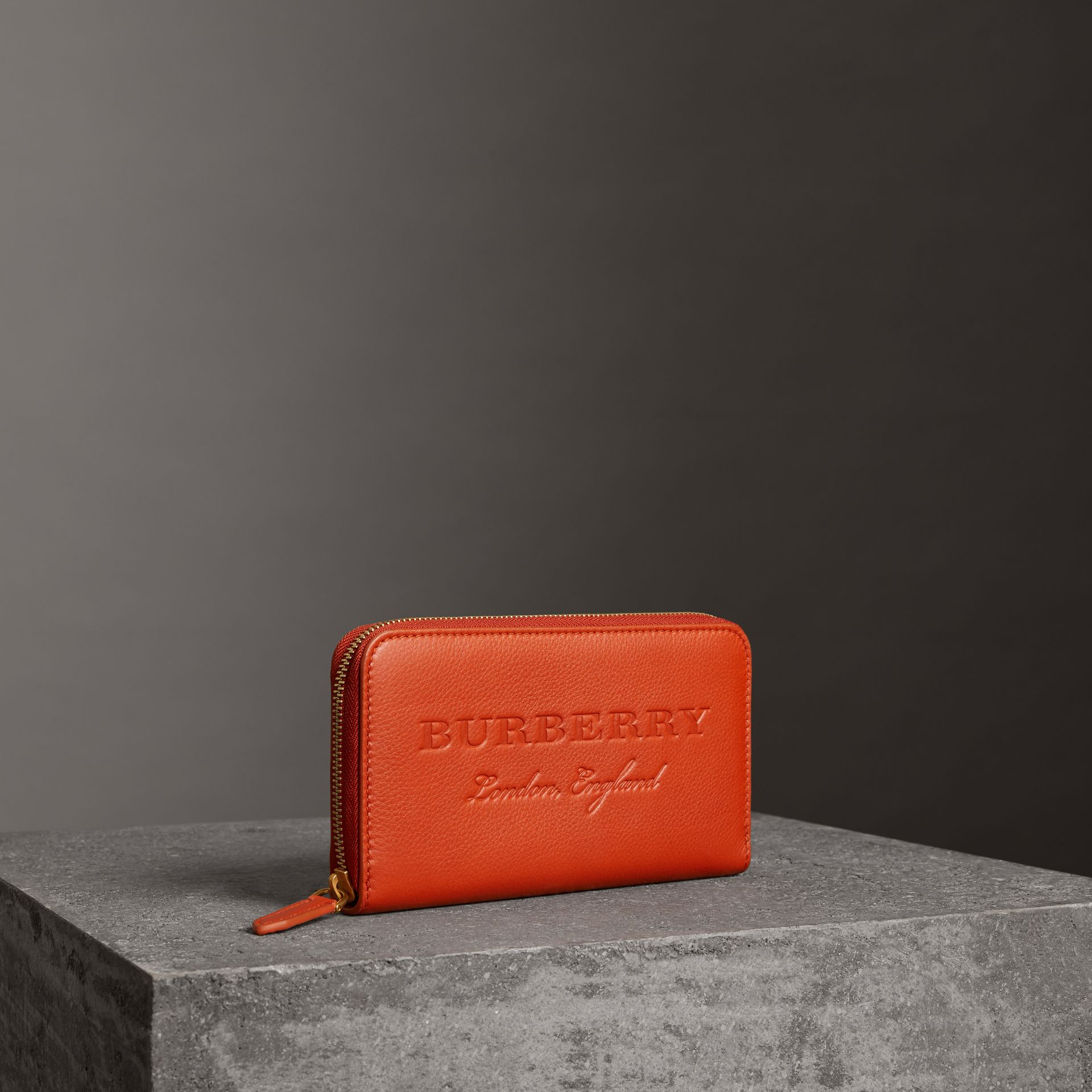 Embossed Leather Ziparound Wallet in Dark Clementine - Women | Burberry Canada - gallery image 0