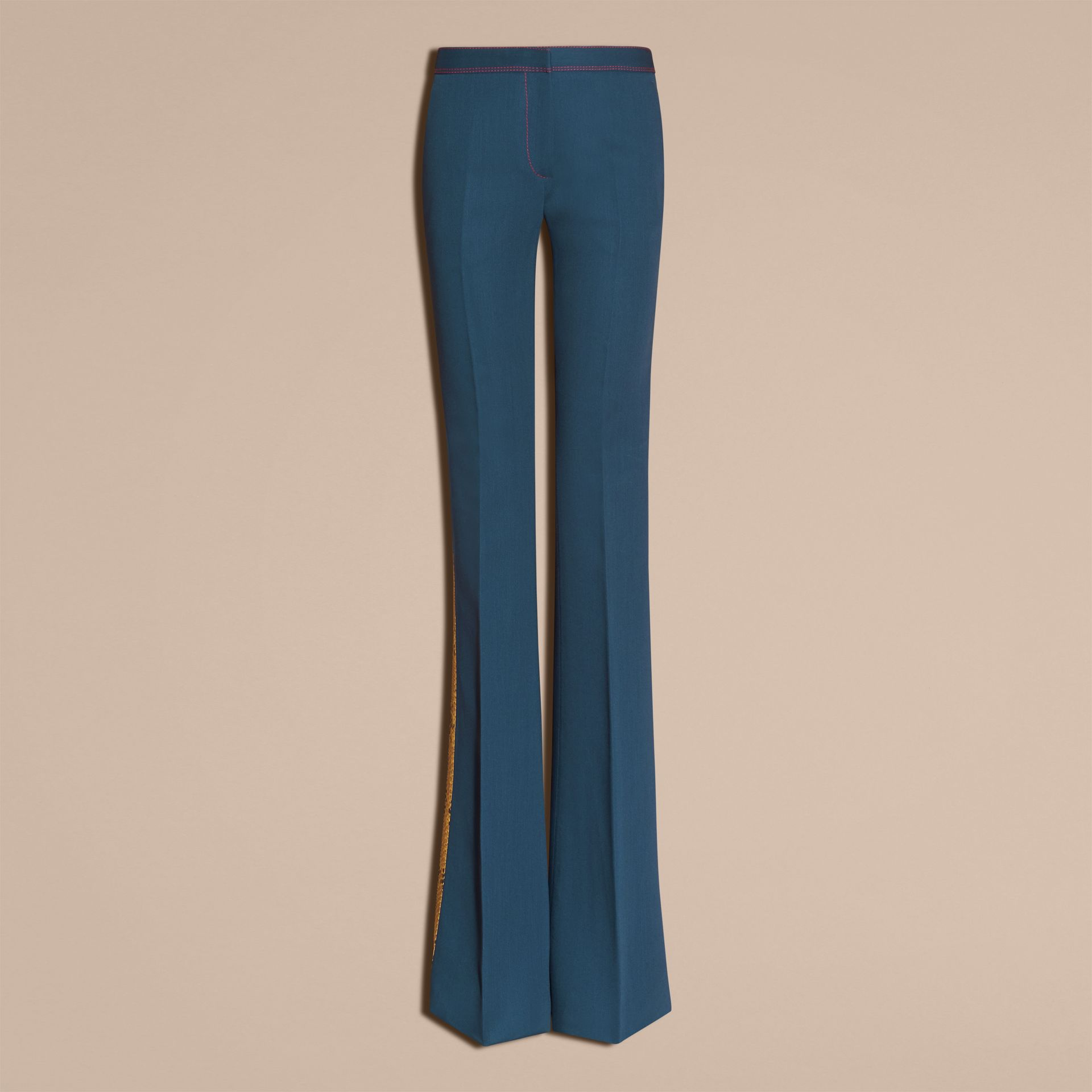 Ink blue Python Print Trim Wool Silk Flared Officer Trousers - gallery image 4