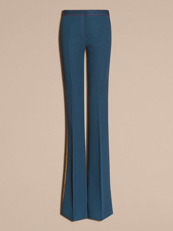 Ink blue Python Print Trim Wool Silk Flared Officer Trousers - cell image 3