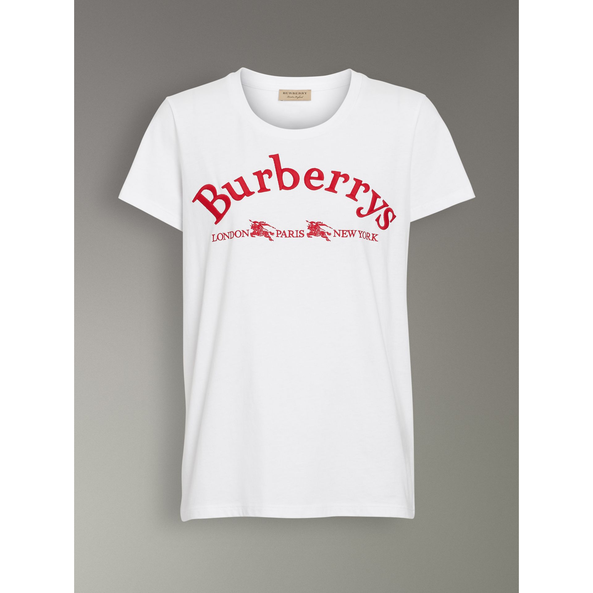 Embroidered Archive Logo Cotton T-shirt in White - Women | Burberry United Kingdom - gallery image 3