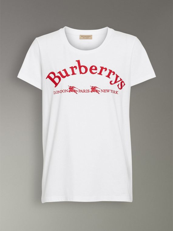 Embroidered Archive Logo Cotton T-shirt in White - Women | Burberry Australia - cell image 3