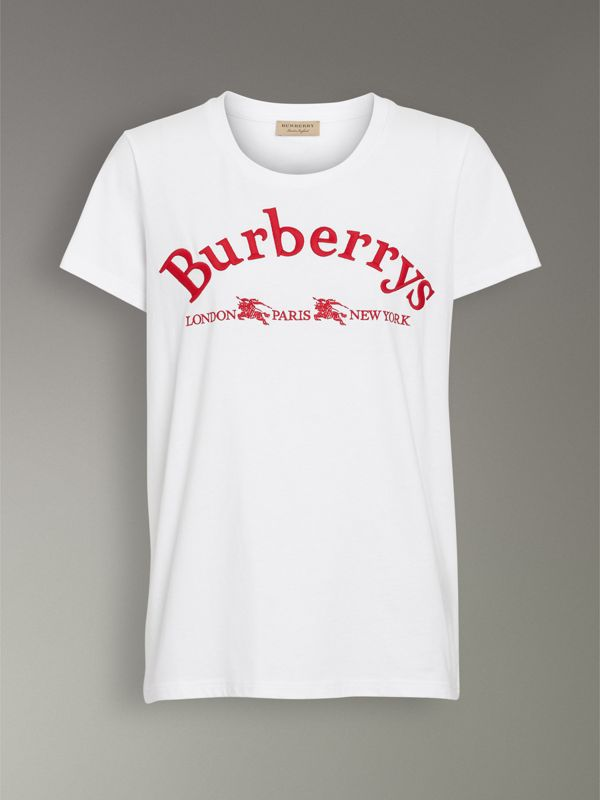 Embroidered Archive Logo Cotton T-shirt in White - Women | Burberry United States - cell image 3
