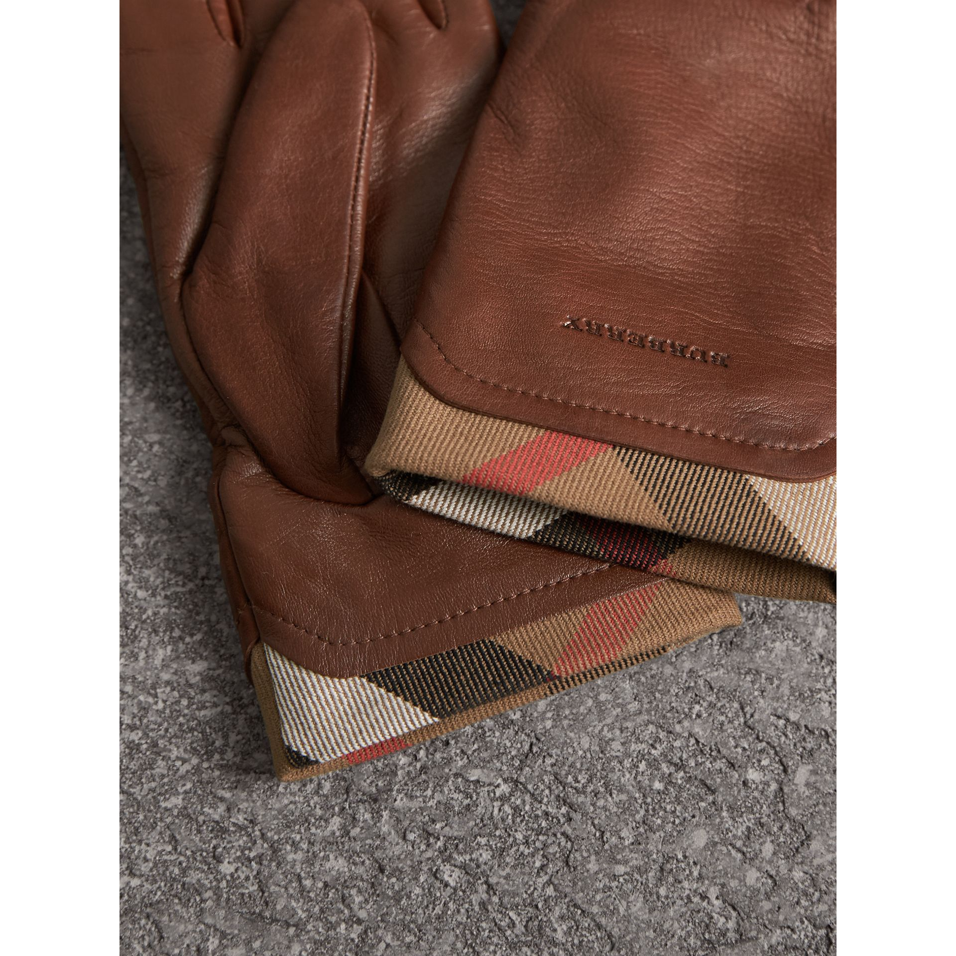 Check Trim Leather Touch Screen Gloves in Saddle Brown - Women | Burberry Singapore - gallery image 3