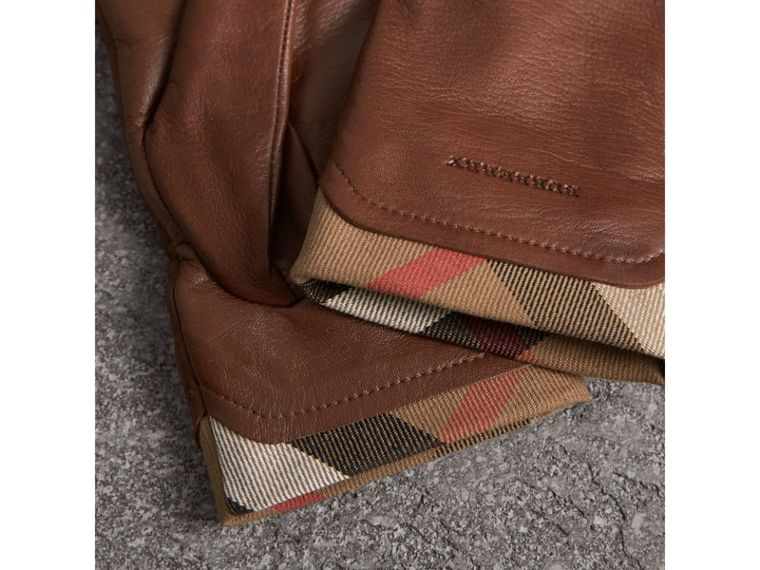 Check Trim Leather Touch Screen Gloves in Saddle Brown - Women | Burberry Singapore - cell image 2