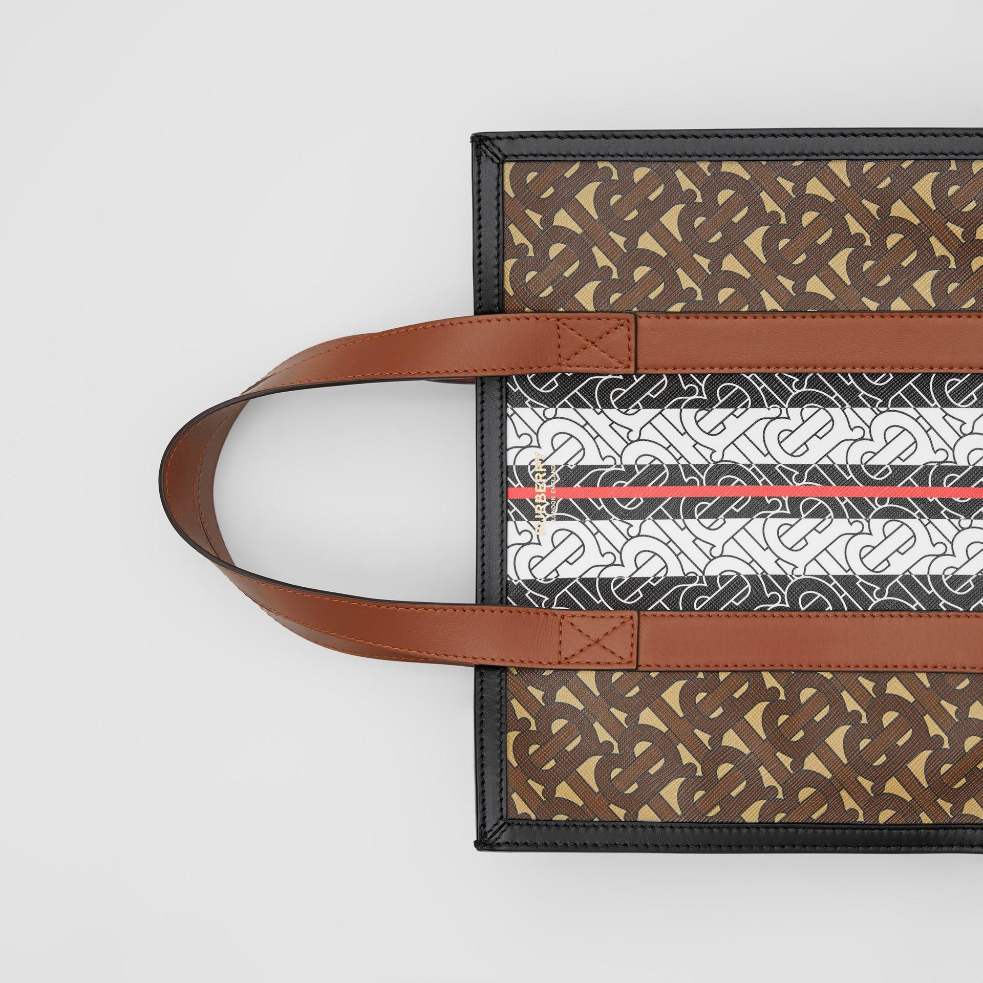 Small Monogram Stripe E-canvas Portrait Tote Bag in Bridle Brown - Women   Burberry United Kingdom - gallery image 1