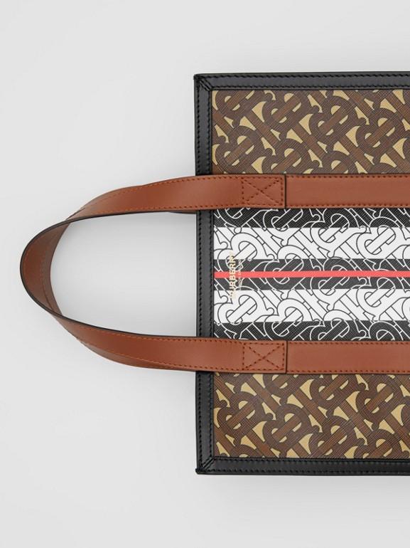 Small Monogram Stripe E-canvas Portrait Tote Bag in Bridle Brown - Women   Burberry United Kingdom - cell image 1