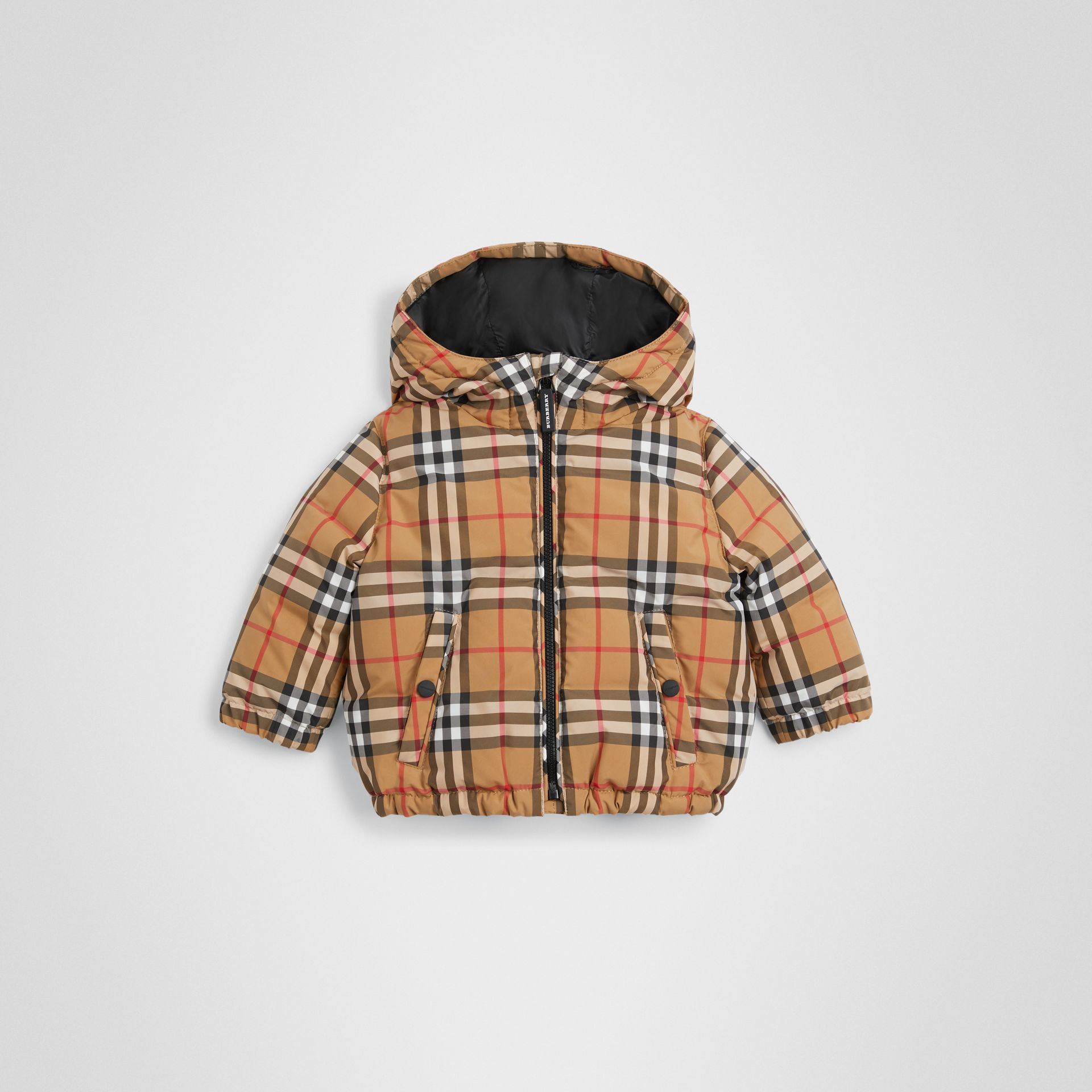 Vintage Check Down-filled Hooded Jacket in Antique Yellow - Children | Burberry United Kingdom - gallery image 0