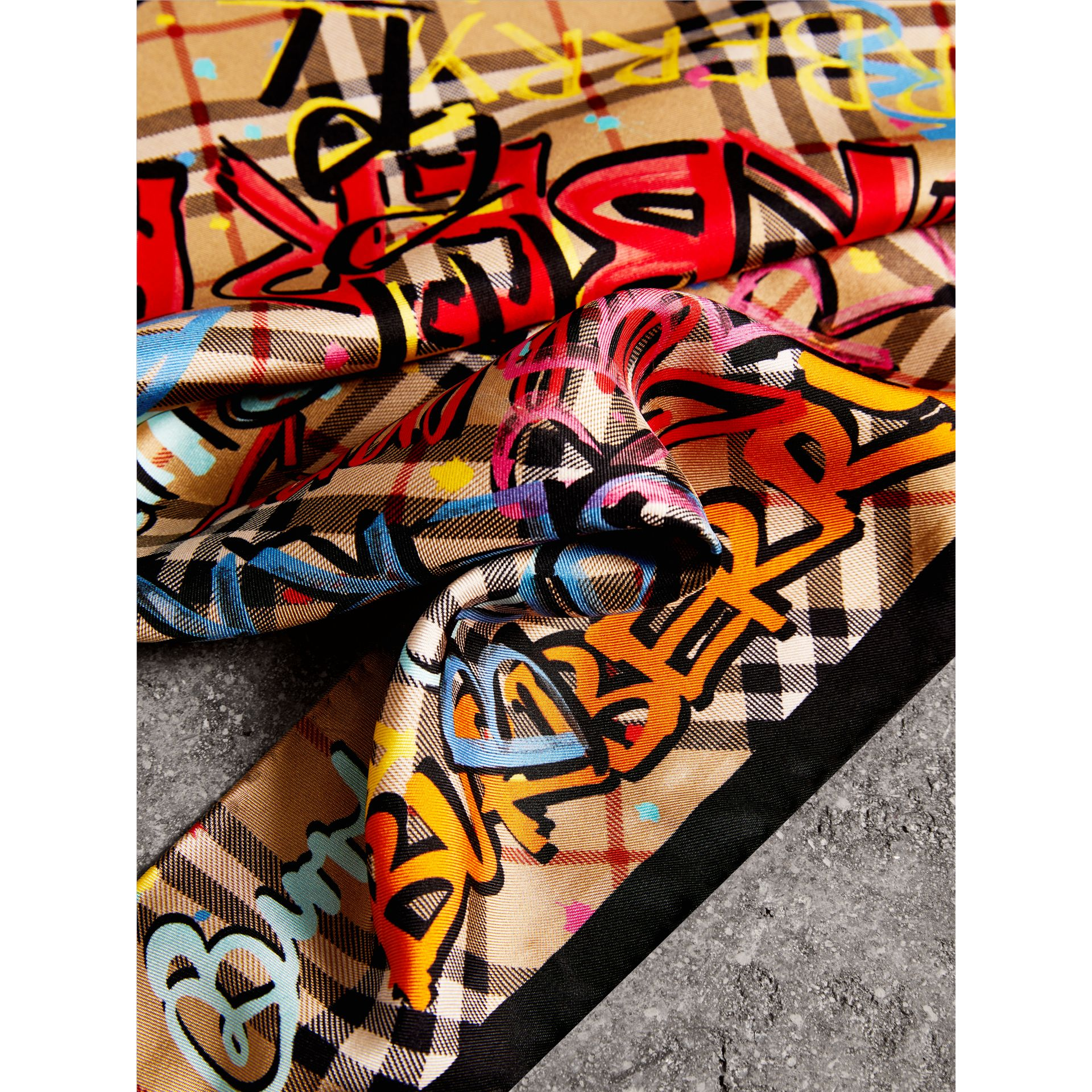 Graffiti Print Vintage Check Silk Scarf in Antique Yellow - Women | Burberry United States - gallery image 1